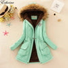 Echoine Faux Fur Coats for Women Hooded Neck Zipper Button