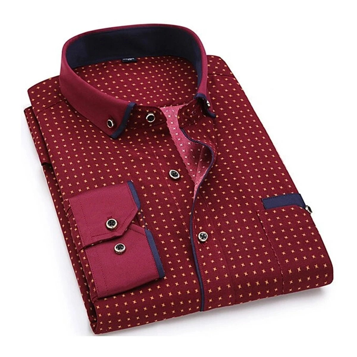 Men's Casual Printed Long Sleeve Shirt Made of Fine Wool Fabrics