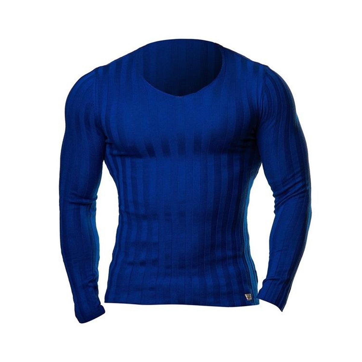 Fashionable Knitted Slim Fit V-neck Long Sleeve Tee
