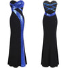 Angel-Fashions Strapless Criss-Cross Long Prom Dress