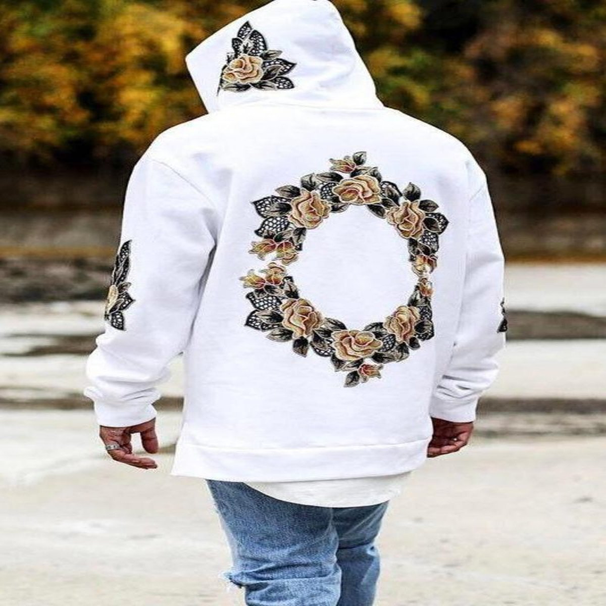 Floral Hooded Polyester Sweatshirt for Men Available in 4 Colors