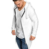 Mens longline cardigan Hooded Solid Trench Coat