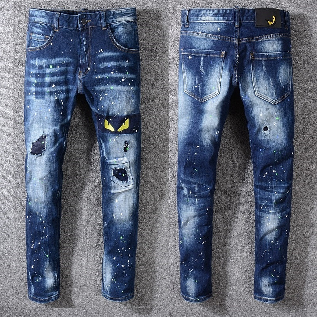 Men's Monster Eye Embroidered Pants with Sturdy Zipper