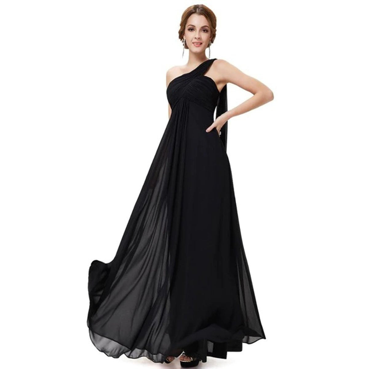 Ever Pretty Long Ruffle Padded One Shoulder Evening Dresses