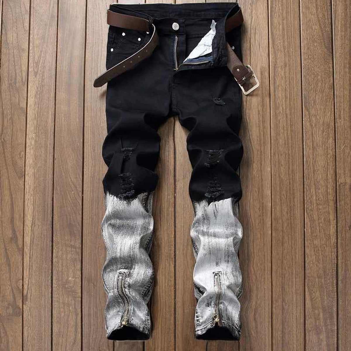 Men's Full Length Jeans with Zippers at Ankles