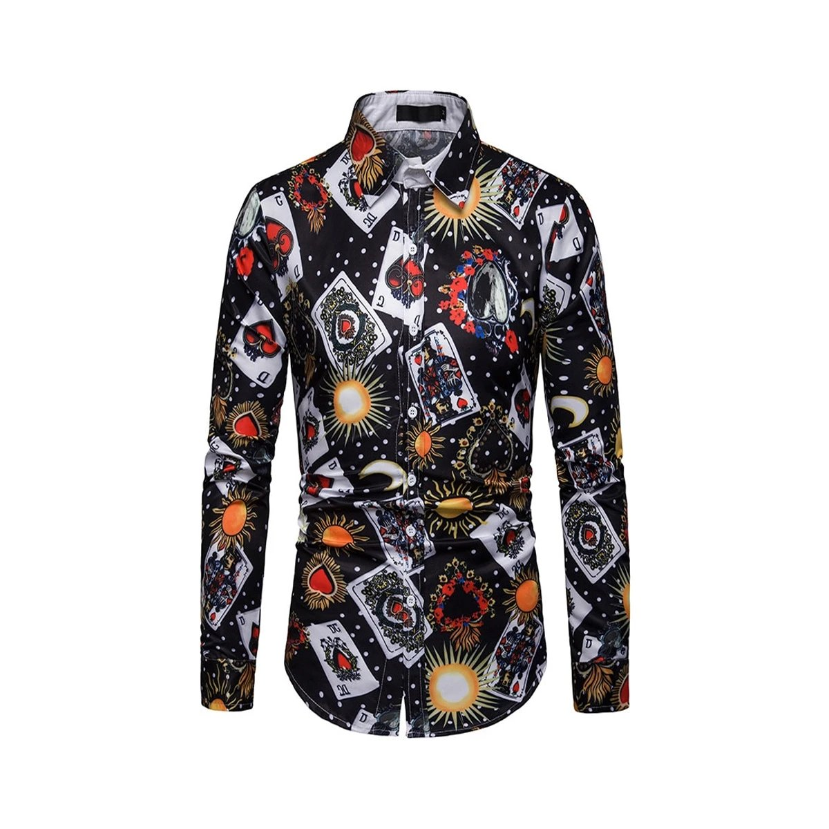 Men's Printed Long-sleeve Cotton & Polyester Playing Card Shirt
