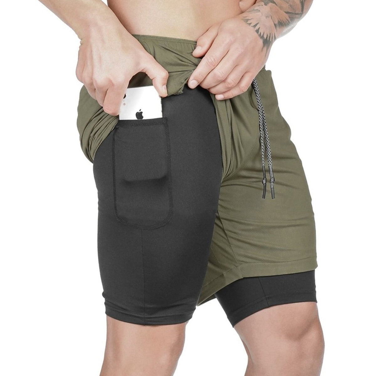 Elastic Running Shorts with Side Pocket Made of Polyester