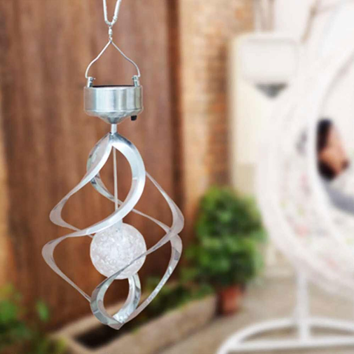 Color Changing Solar Wind Chime Light with Gorgeous Spiral Design