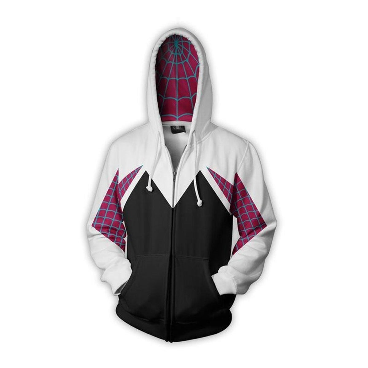 Polyester & Spandex Women's Spider Hoodie with Full Zipper Closure