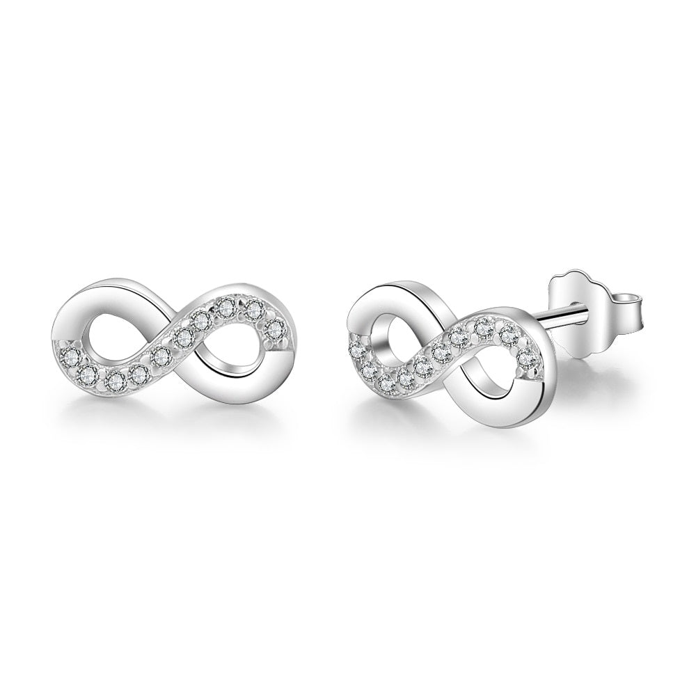 Number 8 Shape Cubic Zirconia Sterling Earrings