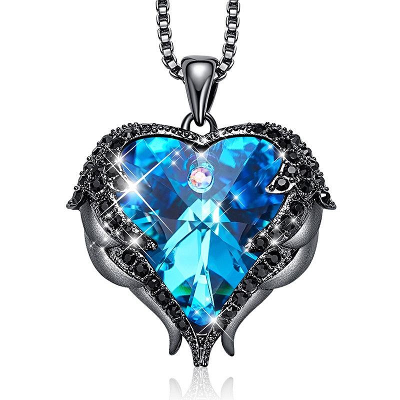 Swarovski Necklace with Angel Wings & Heart Pendant