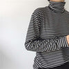 Long Sleeved Striped Turtleneck T Shirt for Women