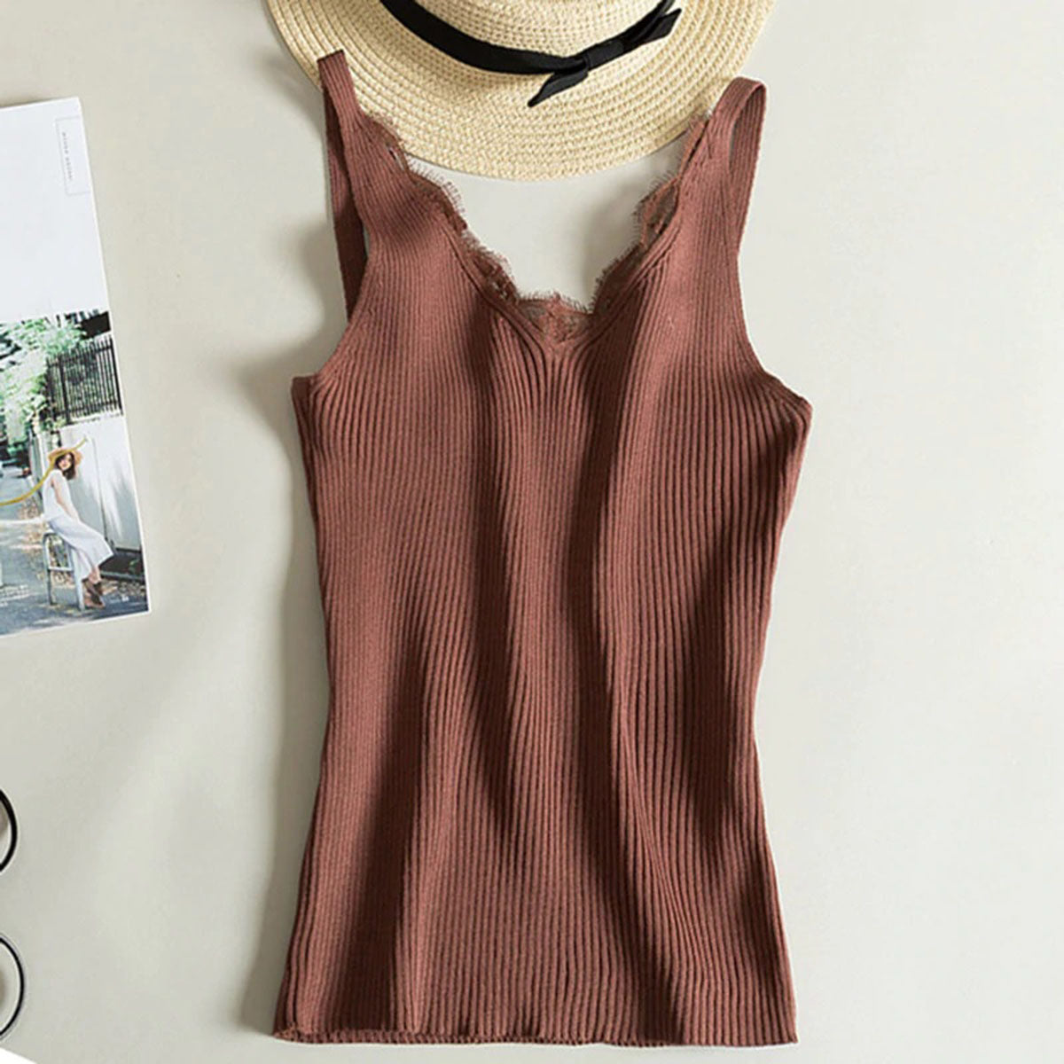 Lace Camisole Splicing Double V-Neck Vest for Women