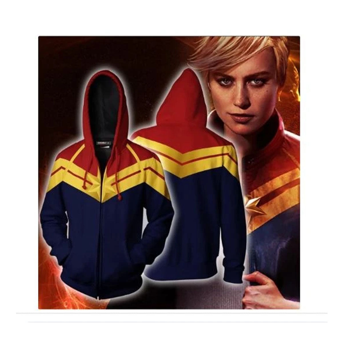Captain Marvel 3d Printed Machine Washable Hoodie for Women