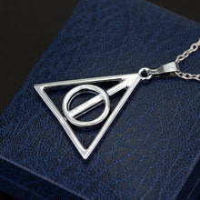 Load image into Gallery viewer, 2021 Fashion Long Necklaces Deathly Hallows Pendant Necklace Triangle Rotatable intermediate Resurrection Stone Necklaces