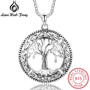 Vintage 925 Sterling Silver Tree of Life Round Pendant Necklace Women Silver Jewelry Birthday Gift for Grandma
