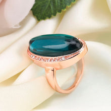 Load image into Gallery viewer, Big Oval Green Stone Rings For Women Luxury Gold Color Filled Shining Zircon Ring Bling Engagement Wedding Rings