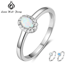 Load image into Gallery viewer, Women 925 Sterling Silver Rings Created Oval Blue Pink White Fire Opal Ring with Zircon Romantic Gift 6 7 8 Size (Lam Hub Fong)