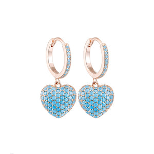 Cubic Zircon Peach Heart Drop Earrings For Women Cute Rose Gold Silver Color Earrings Luxury  Party Wedding Jewelry Lovely Gifts