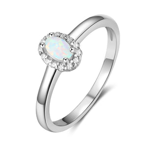 Women 925 Sterling Silver Rings Created Oval Blue Pink White Fire Opal Ring with Zircon Romantic Gift 6 7 8 Size (Lam Hub Fong)