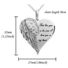 Load image into Gallery viewer, Shiny Rhinestone Heart Wing Pendant Necklace Lover's Honeyed Words Carved Angel Wings Charm Necklace Memorial Gift Jewelry