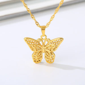 Butterfly Necklace for Women Stainless Steel Butterflies Pendant Necklace Gold Silver Color Charms Choker Boho Aesthetic Jewelry