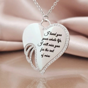 Shiny Rhinestone Heart Wing Pendant Necklace Lover's Honeyed Words Carved Angel Wings Charm Necklace Memorial Gift Jewelry
