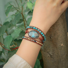 Load image into Gallery viewer, Handmade Ocean Jasper 3X Wrap Bracelet Vintage Jasper Leather Wrap Bracelet