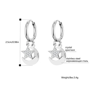 Star Moon Earrings for Women Stainless Steel Small Circle Ear Hoops Earrings Mosaic Cubic Zircon Pendant Jewelry Wedding Gift