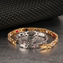 Load image into Gallery viewer, Vinterly Magnetic Bracelet Women Chain Crystal Gold-color Stainless Steel Bracelet Women Cross Health Energy Bracelets for Women