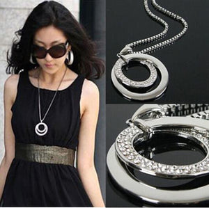 #60 2020 Top Sale Long Chain Women Fashion Crystal Rhinestone Silver Plated Pendant Necklace Gift Jewelry Accessories Torque