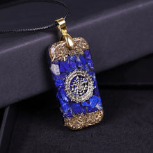 Load image into Gallery viewer, Orgonite Energy Pendant Natural Lapis Lazuli Reiki Energy Necklace Mysterious Resin Chakra Stone Growth Business Amulet