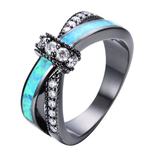 AMORUI Colorful Opal Natural Stone Ring Bagues Femme Black Gold Color Wedding Rings for Women Jewelry Anillos Mujer Gift