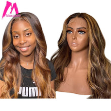 Load image into Gallery viewer, Highlight Lace Front Human Hair Wigs Honey Blonde Body Wave Wig Brazilian Ombre Brown Remy Pre Plucked 13x1 Lace Part for Women