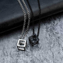 Load image into Gallery viewer, Retro Hollow Cube Pendant For Men Square Vintage Necklace Punk Geometric Collier Chain Pendant Necklace