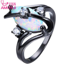 Load image into Gallery viewer, AMORUI Rainbow Crystal Women wedding Rings Copper Black Gold Rings For Women Fashion Jewelry Engagement Rings Femme Anel Anillos