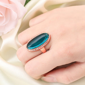 Big Oval Green Stone Rings For Women Luxury Gold Color Filled Shining Zircon Ring Bling Engagement Wedding Rings