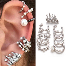 Load image into Gallery viewer, 9pcs/set Punk Simulated Pearl Crystal Clip Earrings for Women Bohemian Silver Color Ear Cuff Brincos Fashion Geometry Jewelry