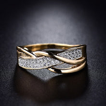Load image into Gallery viewer, Size 6 7 8 9 10 Gifts Engagement High Quality Valentine Present Rings Women Crystal Golden 1PC Hot Sale Cross Seaside