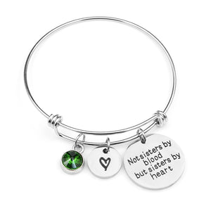 """Not sisters by blood but sisters by heart""Birthstone Bangle Bracelets Stainless Steel Charm Bracelet For Women Friendship Gift Galentines"