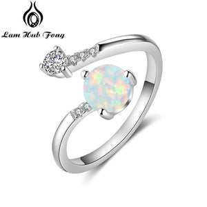 Round Blue Opal Rings for Women Cubic Zirconia Adjustable Wrap Ring Wedding Jewelry