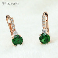 Load image into Gallery viewer, S&Z Round Micro Wax Inlay Cubic Zirconia Dangle Earrings 585 Rose Gold
