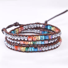 Load image into Gallery viewer, Chakra Bracelet Jewelry Handmade Leather Wrap Bracelet Multi Color Spare  Crystal Beads Natural Stone Bracelet