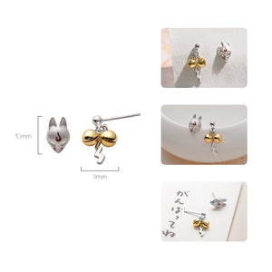 Thaya Fox Stud Earrings S925 Silver Animal 3d Fox Handmade Golden Bell Earrings For Women Lovely Cold Party Jewelry Gift Jewelry