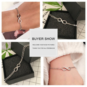 925 Sterling Silver Infinity Bracelets & Bangles for Women 8 Shape Double Chain Bracelet Party Trendy Jewelry (Lam Hub Fong)