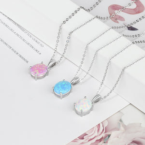 Pendant Necklaces Created Oval White Pink Blue Opal Necklace