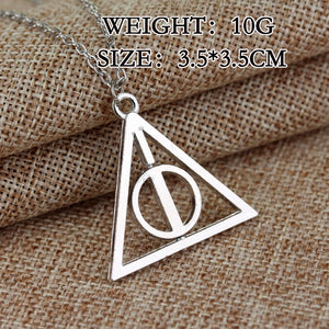 2021 Fashion Long Necklaces Deathly Hallows Pendant Necklace Triangle Rotatable intermediate Resurrection Stone Necklaces