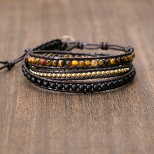 Load image into Gallery viewer, Unique Mixed Triple Simple Leather Beaded Bracelet,Tiger Eye,Copper,Black Beaded Beaded Bracelet Friendship Bracelets Jewelry