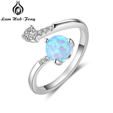 Load image into Gallery viewer, Round Blue Opal Rings for Women Cubic Zirconia Adjustable Wrap Ring Wedding Jewelry