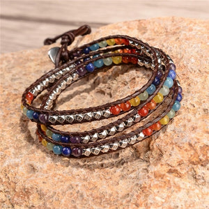 Chakra Bracelet Jewelry Handmade Leather Wrap Bracelet Multi Color Spare  Crystal Beads Natural Stone Bracelet